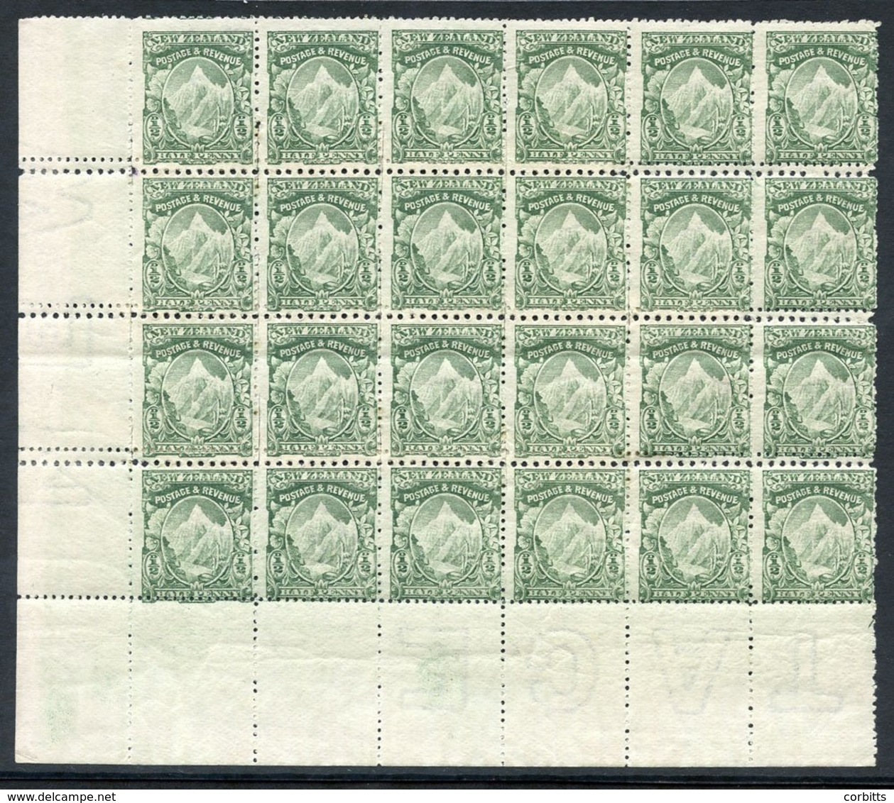 1902 A Spectacular UM Lower Left Corner Block Of 24 Of The ½d Mount Cook Showing Mixed Horizontal Perfs With Patching St - Unclassified