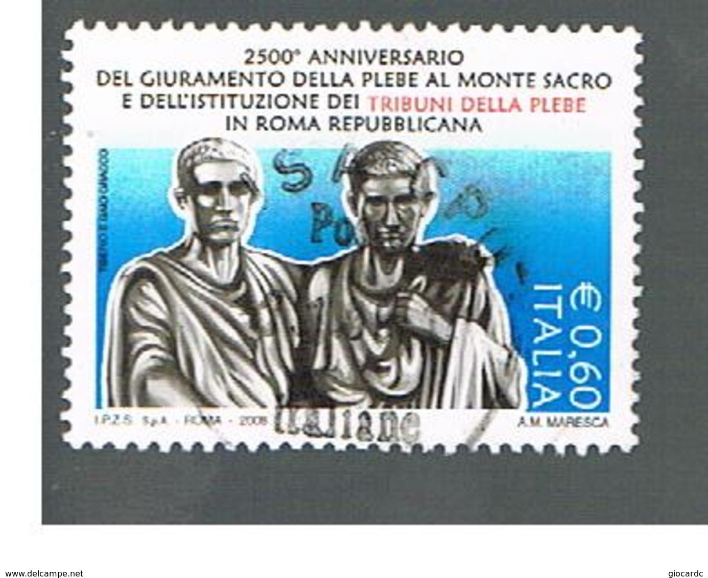 ITALIA REPUBBLICA  -   2008 TRIBUNI DELLA PLEBE     -   USATO  ° - 2001-10: Usados