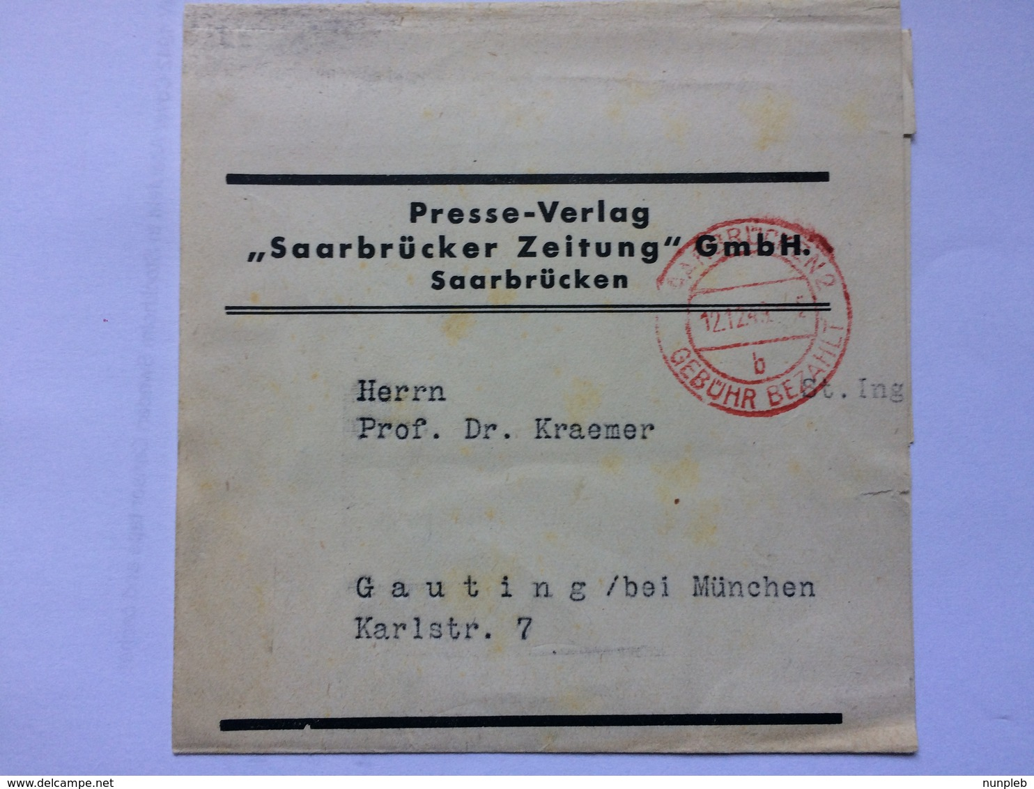GERMANY 1944 Newspaper Wrapper Saarbrucken To Gauting With Gebuhr Bezahlt Mark - Deutschland