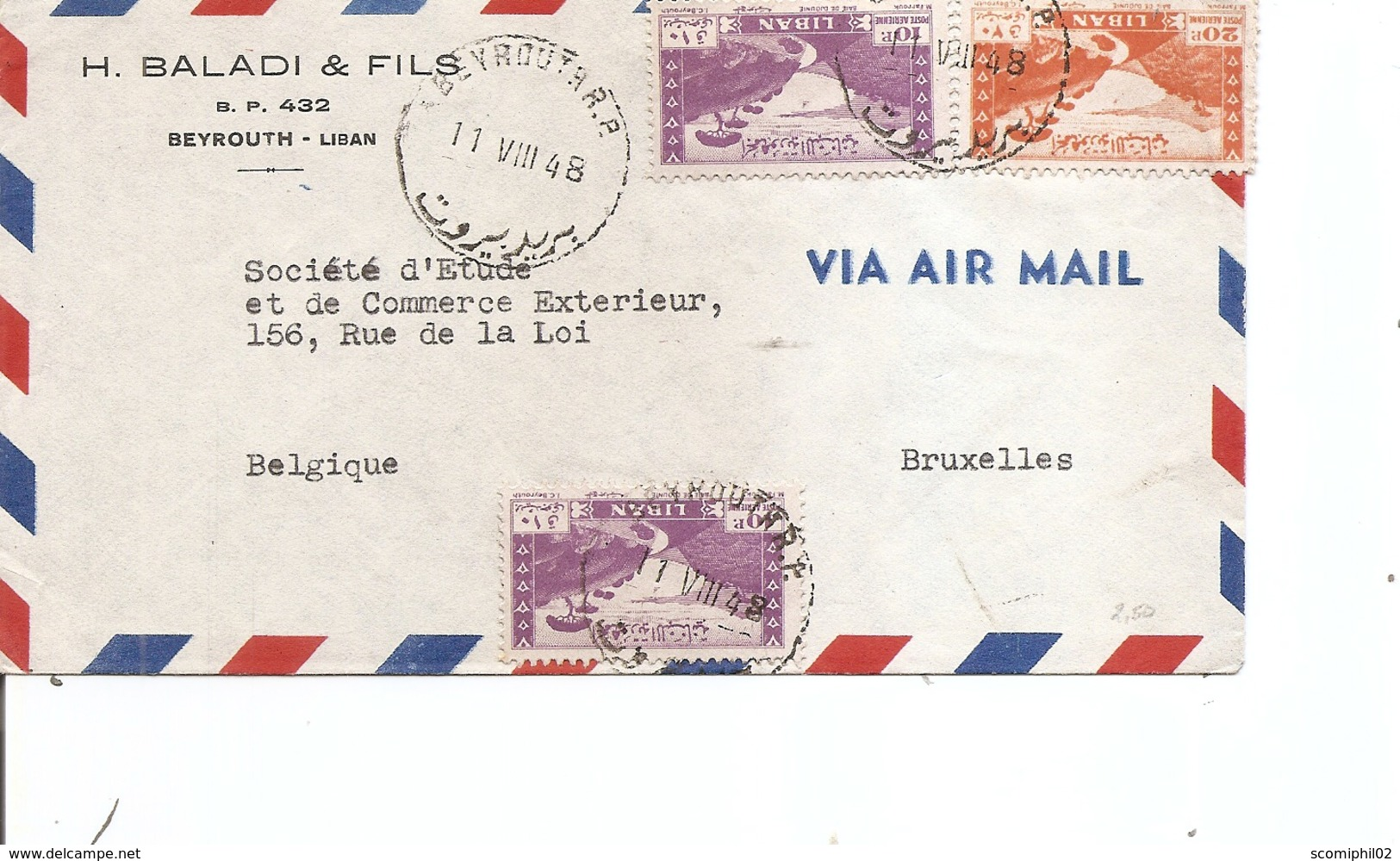 Liban ( Lettre Par Avion De 1948 De Beyrouth Vers La Belgique à Voir) - Lebanon