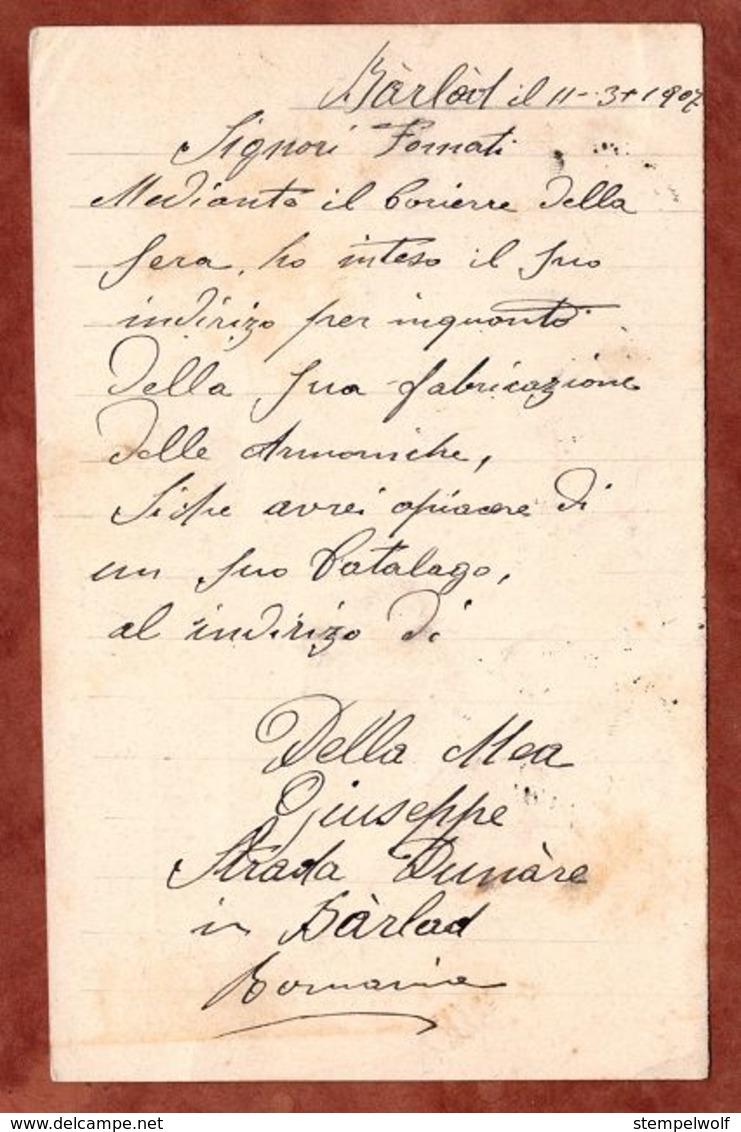 P 42 Koenig Karl, Barlad Nach Ligurien 1907 (75767) - Ganzsachen