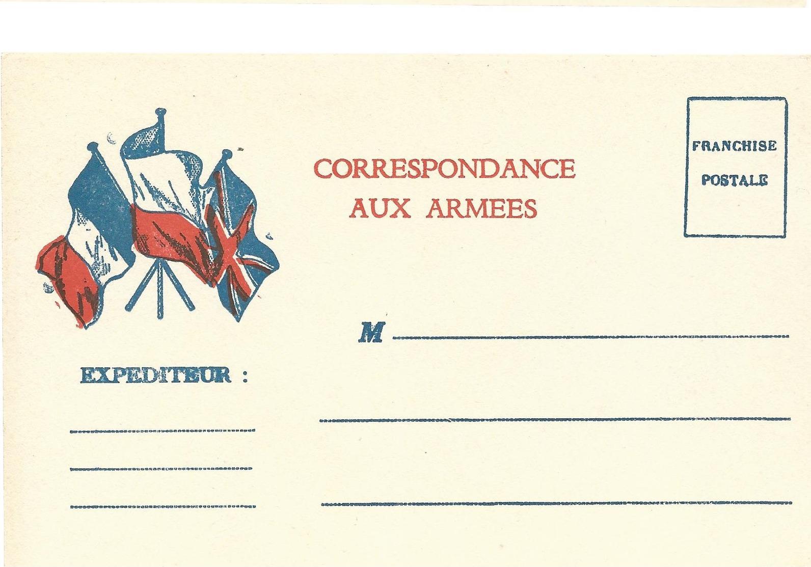 CARTE EN FRANCHISE MILITAIRE - CORRESPONDANCE AUX ARMEES- NON ECRITE - TRES BON ETAT - Tarjetas De Franquicia Militare