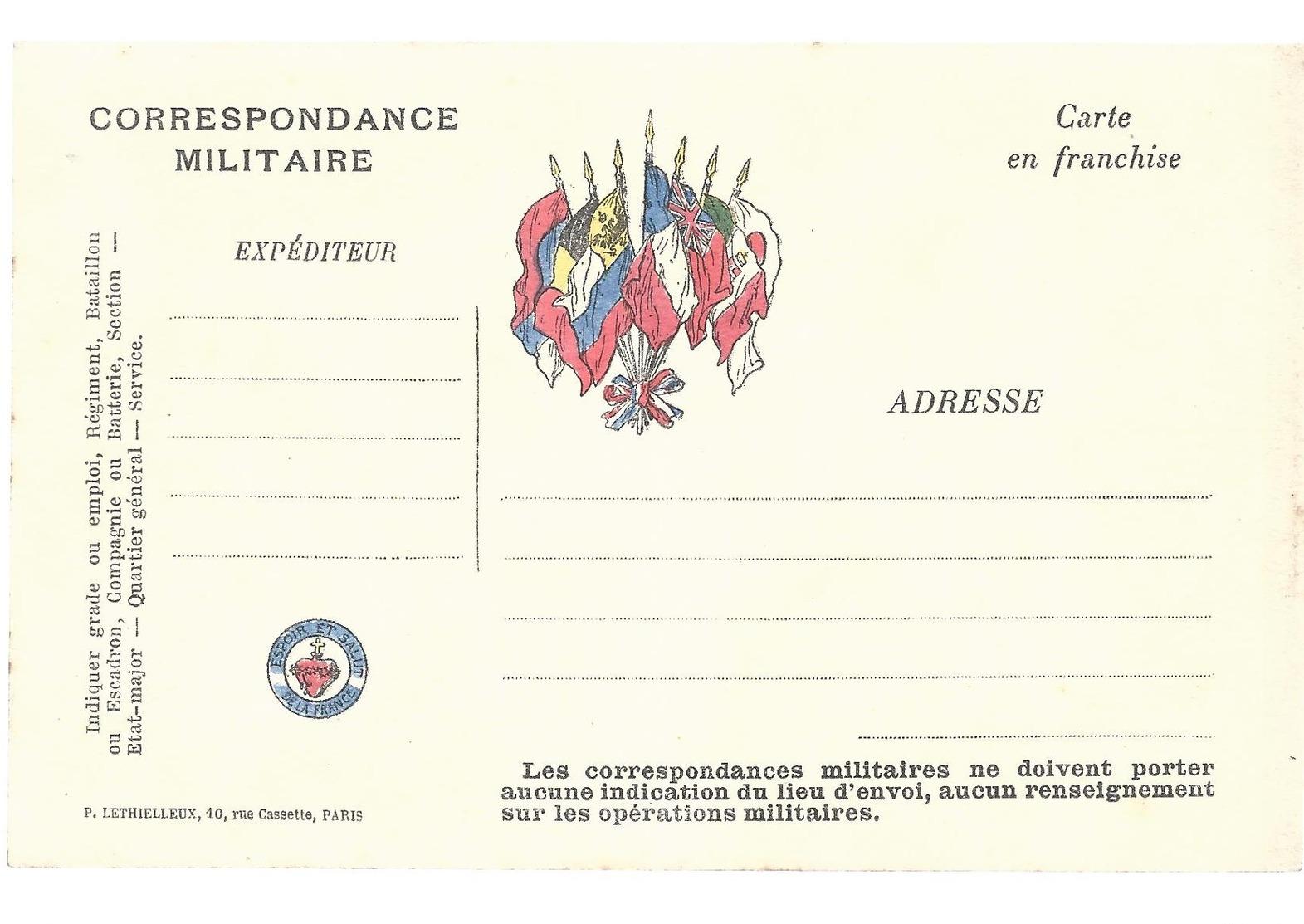 CARTE EN FRANCHISE MILITAIRE - ESPOIR ET SALUT DE LA FRANCE - NON ECRITE - TRES BON ETAT - Marcophilie (Lettres)
