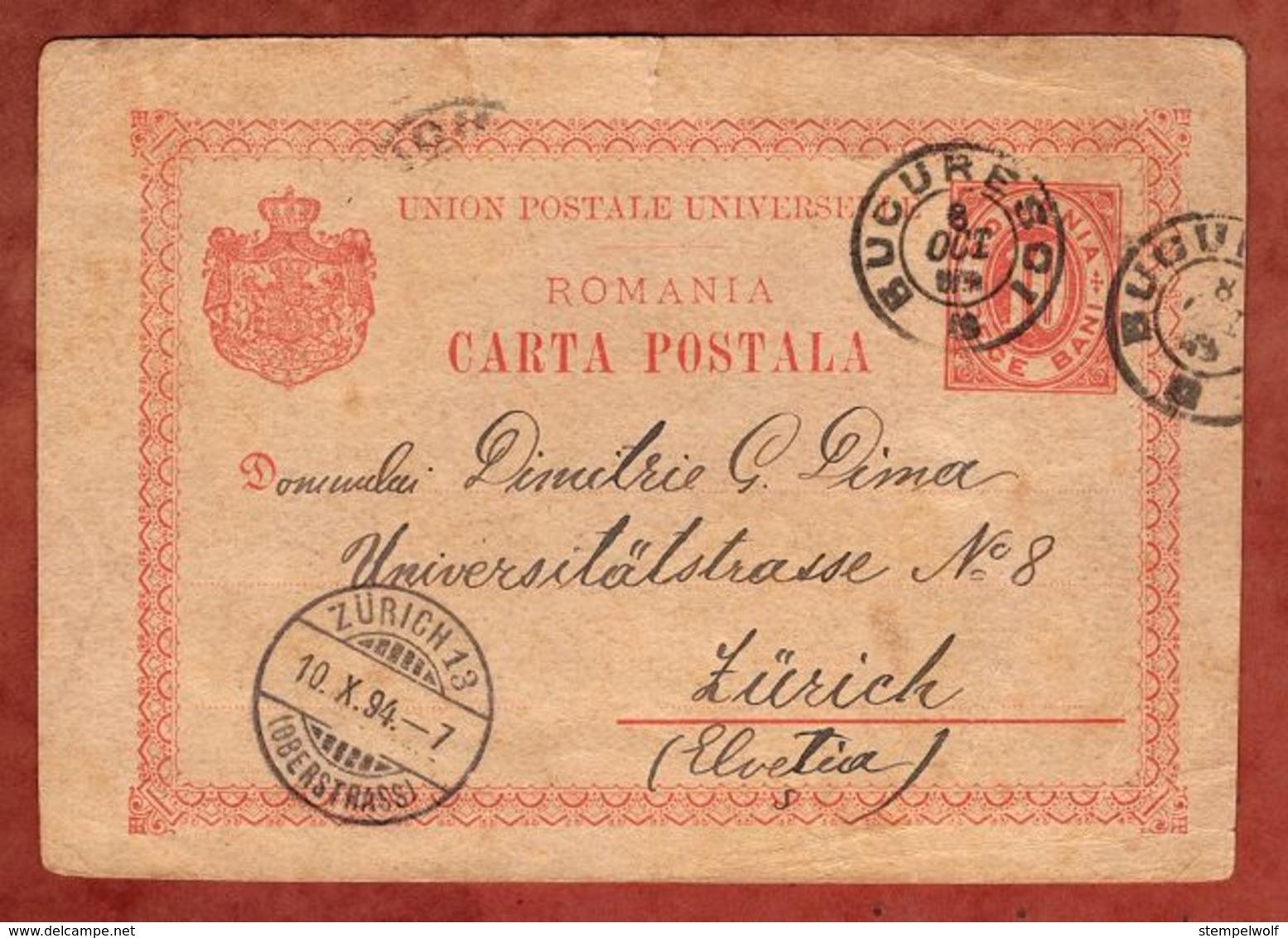 P 28 Ziffer, Bucuresci Nach Zuerich 1894 (75770) - Ganzsachen