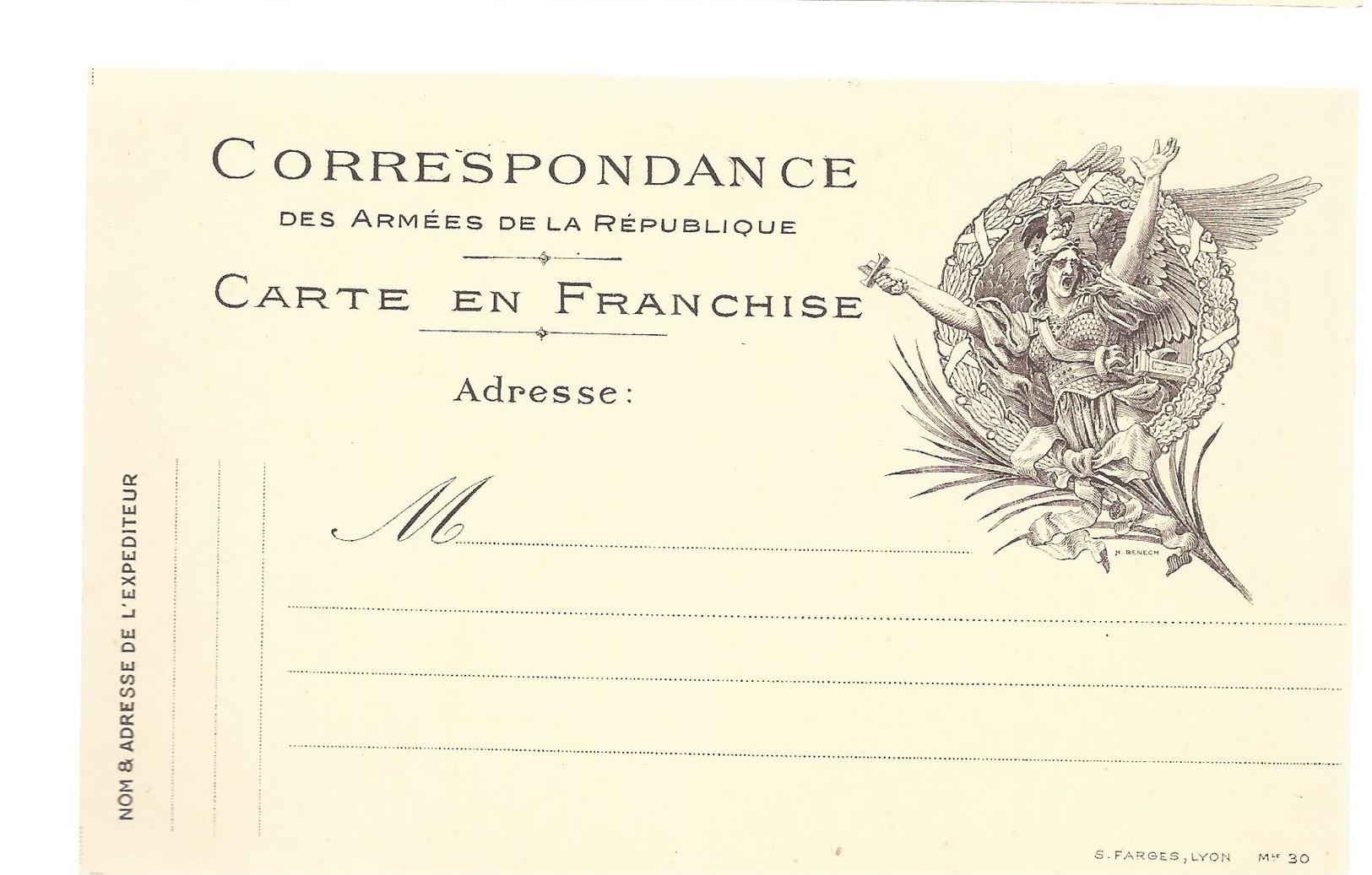 CARTE EN FRANCHISE MILITAIRE  - MODELE RARE- NON ECRITE - TRES BON ETAT - Tarjetas De Franquicia Militare