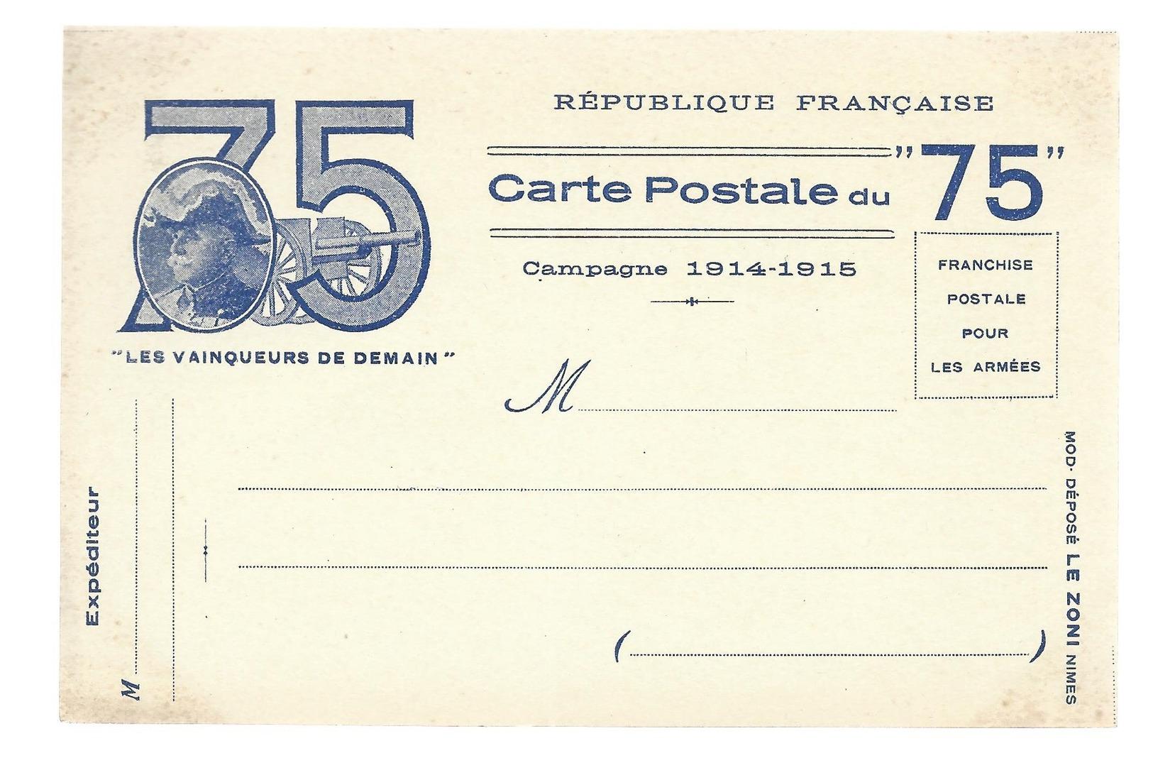CARTE EN FRANCHISE MILITAIRE  - LE 75 - NON ECRITE - TRES BON ETAT - Marcophilie (Lettres)