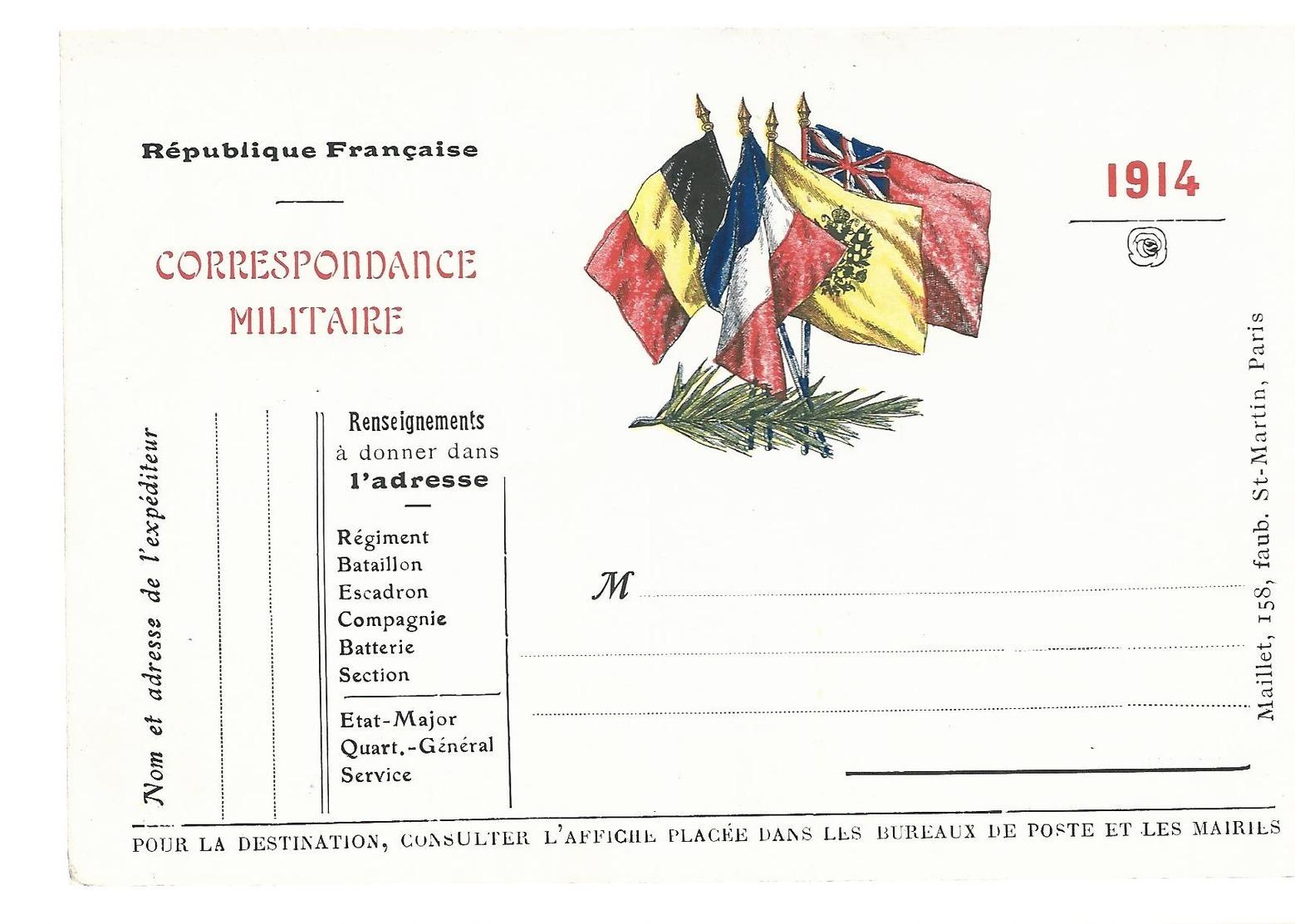 CARTE EN FRANCHISE MILITAIRE  - DRAPEAUX (16) - NON ECRITE - TRES BON ETAT - Marcofilia (sobres)