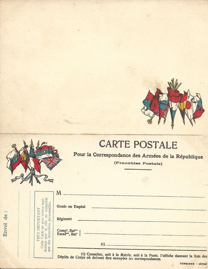 CARTE EN FRANCHISE MILITAIRE  - CARTE DOUBLE (9)  - NON ECRITE - TRES BON ETAT - Cartes De Franchise Militaire