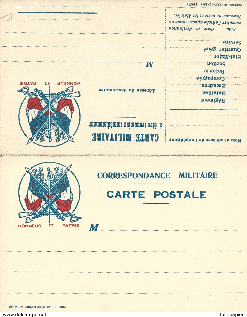 CARTE EN FRANCHISE MILITAIRE  - CARTE DOUBLE (12)  - HONNEUR ET PATRIE- NON ECRITE - TRES BON ETAT - Tarjetas De Franquicia Militare
