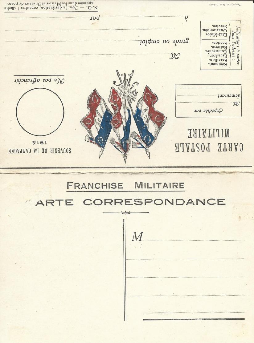 CARTE EN FRANCHISE MILITAIRE  - CARTE DOUBLE (15)  - MODELE RARE - NON ECRITE - TRES BON ETAT - Marcophilie (Lettres)
