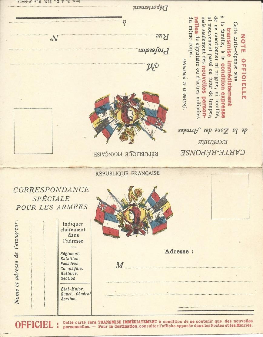 CARTE EN FRANCHISE MILITAIRE  - CARTE DOUBLE (18)  - NON ECRITE - TRES BON ETAT - Marcophilie (Lettres)