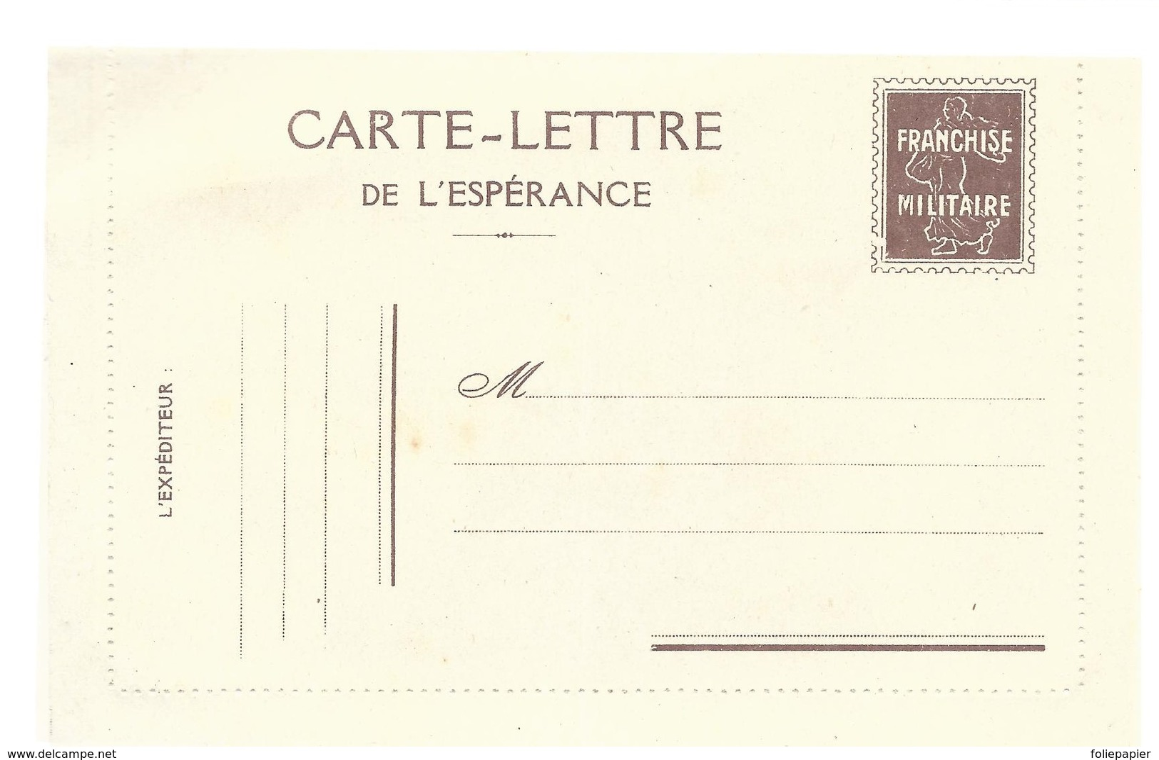 CARTE EN FRANCHISE MILITAIRE  - CARTE LETTRE   - NON ECRITE - TRES BON ETAT - Marcofilia (sobres)