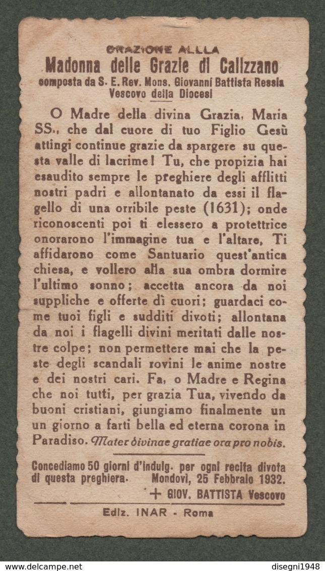 """08278 """"MADONNA DELLE GRAZIE DI CALIZZANO (SV)"""" IMM. RELIG. ORIG. - Santini"""