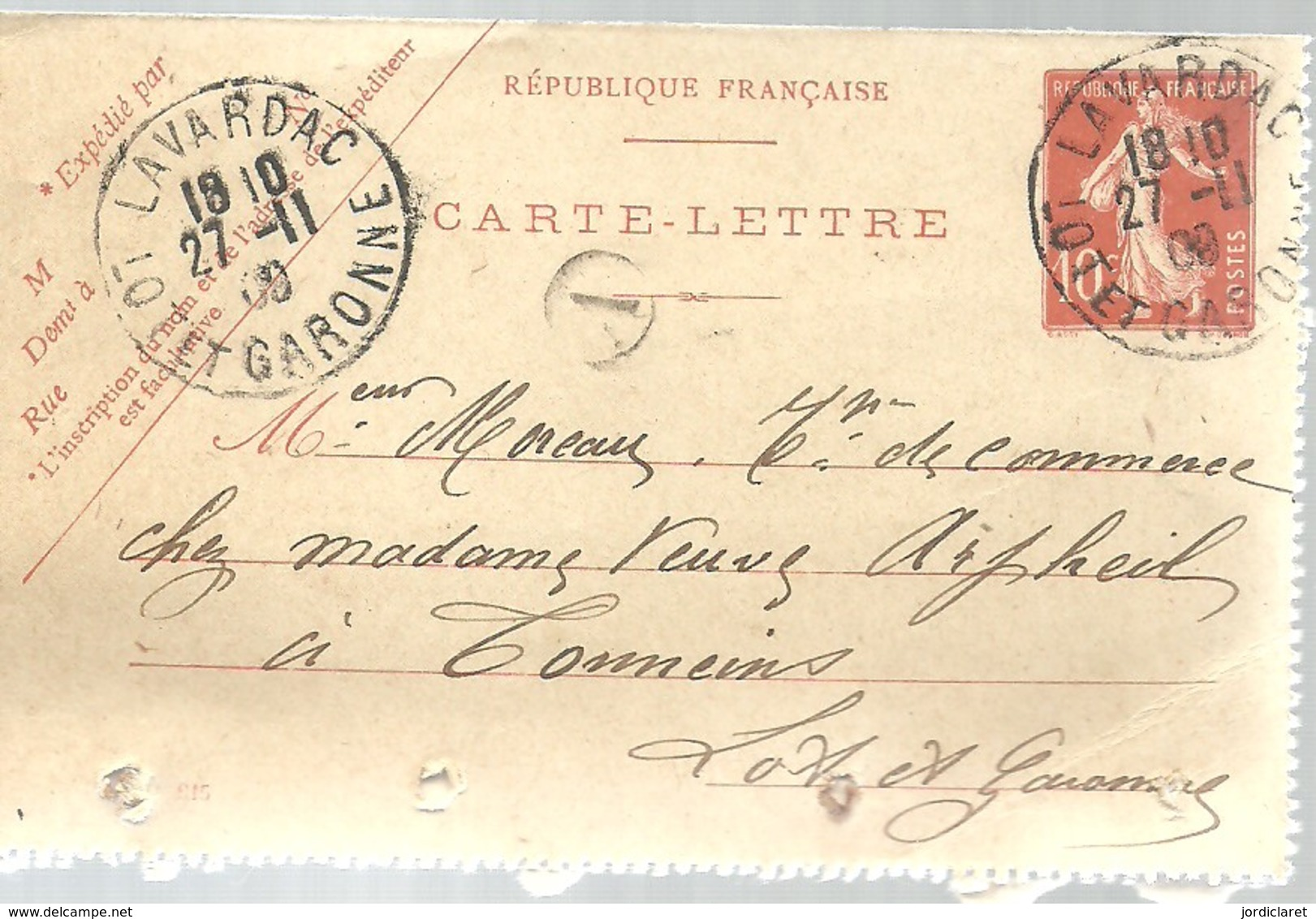 CARTE POSTALE  1909  LAVARDAC - Postal Stamped Stationery