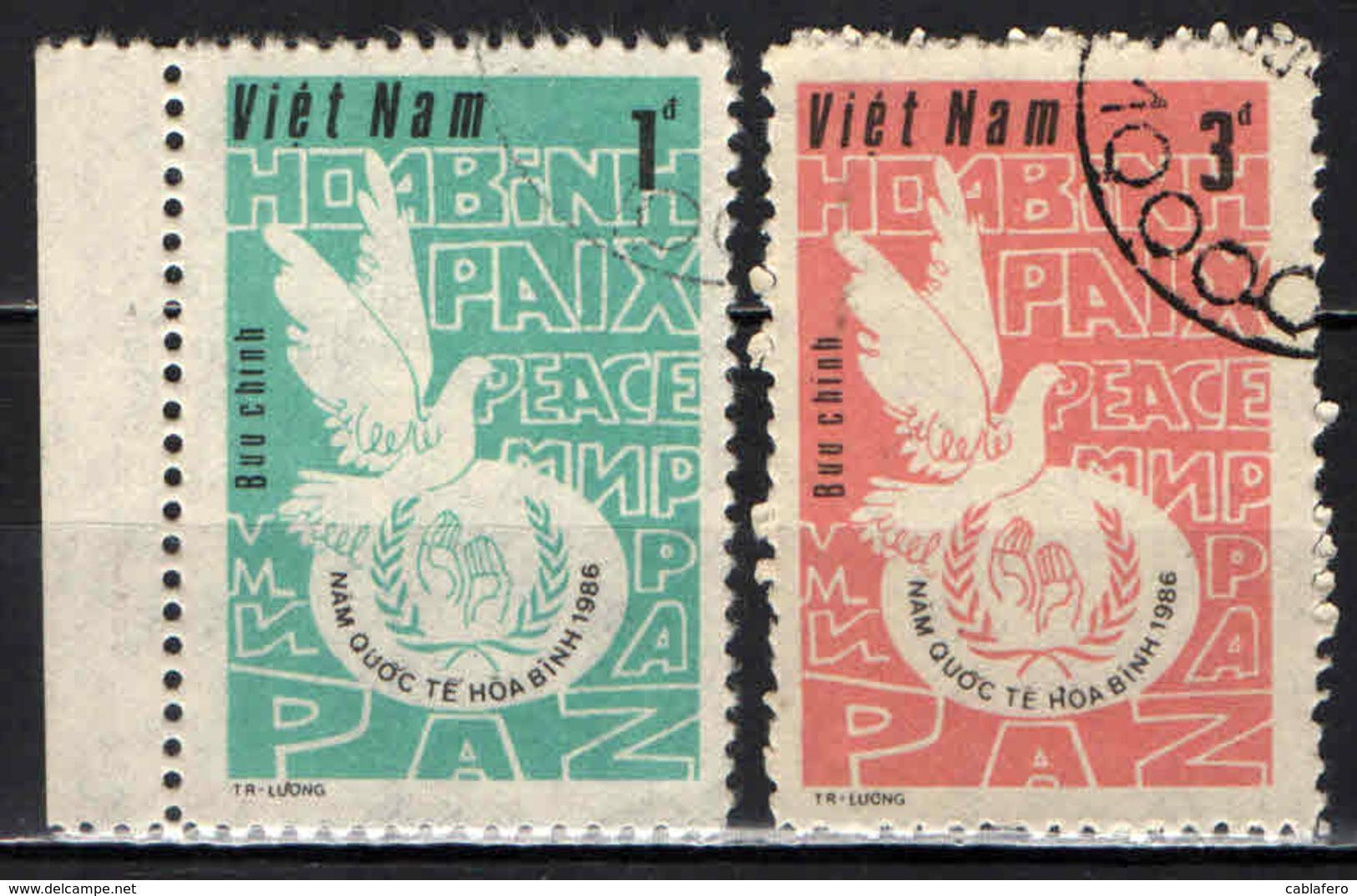 VIETNAM - 1986 - ANNO MONDIALE DELLA PACE - COLOMBA DELLA PACE - USATI - Vietnam