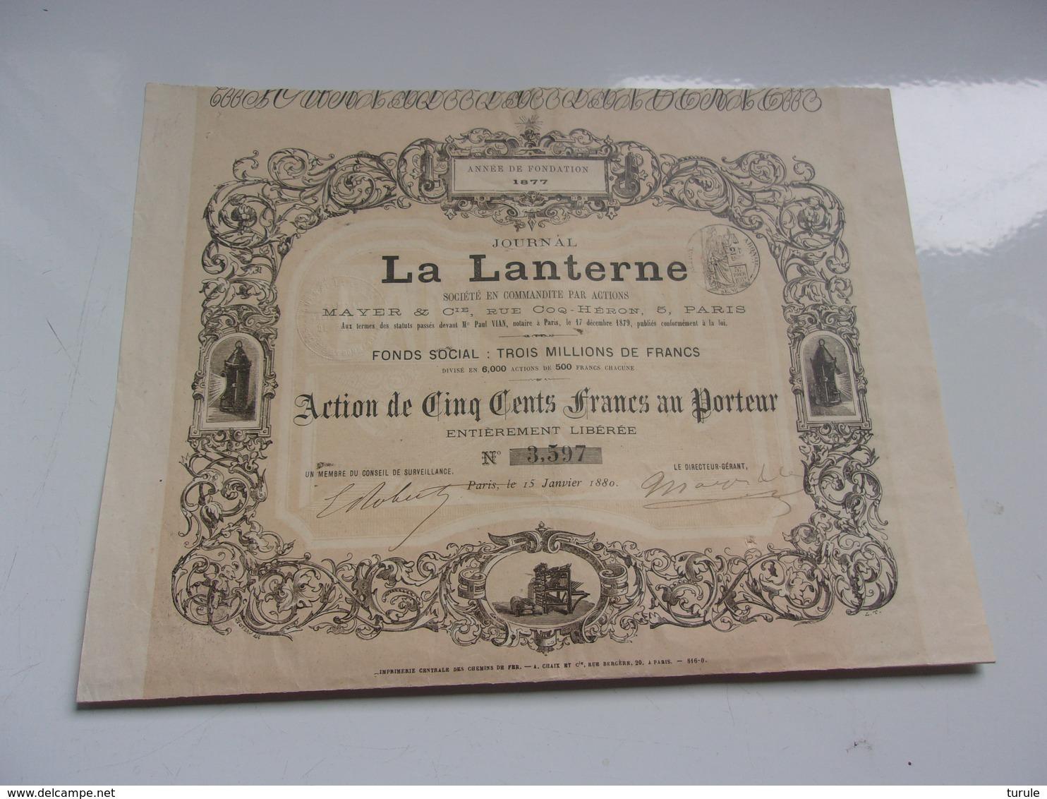Journal  LA LANTERNE (1880) - Aandelen
