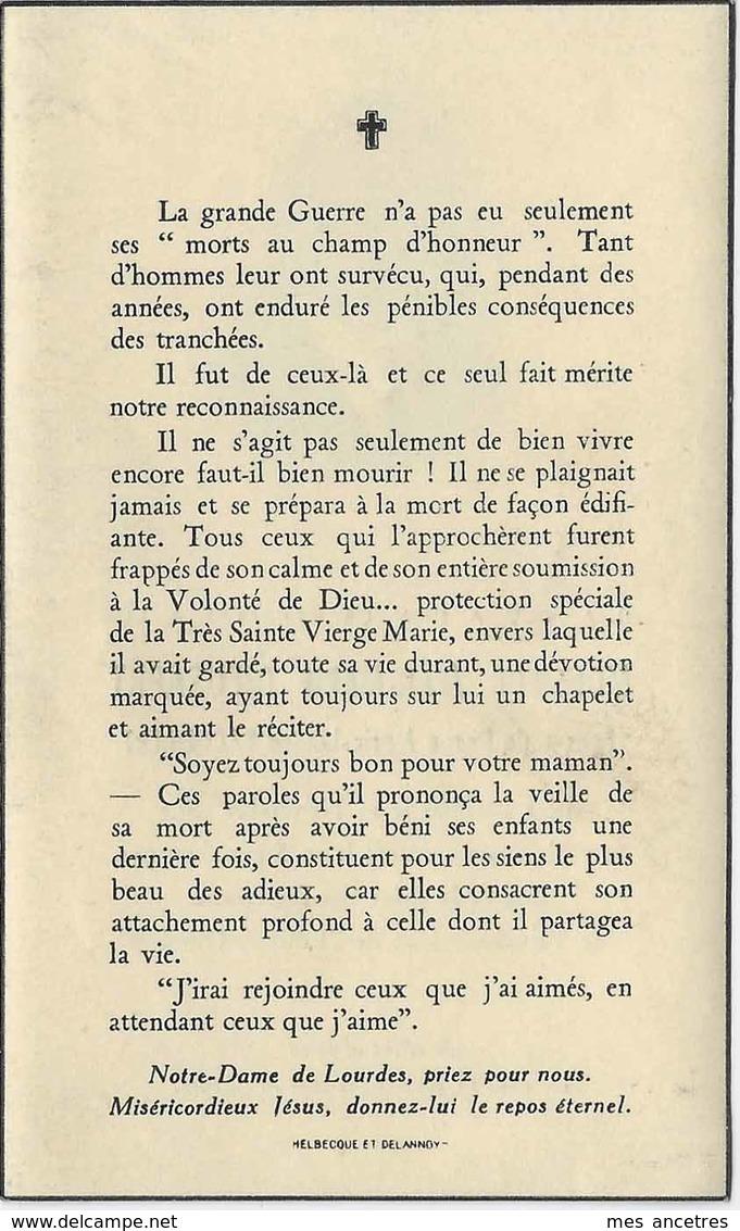 1950- Bailleul (59) -Jean-Marie DIEUSAERT ép Marie-Louise BACQUAERT Né 1893 - Décès