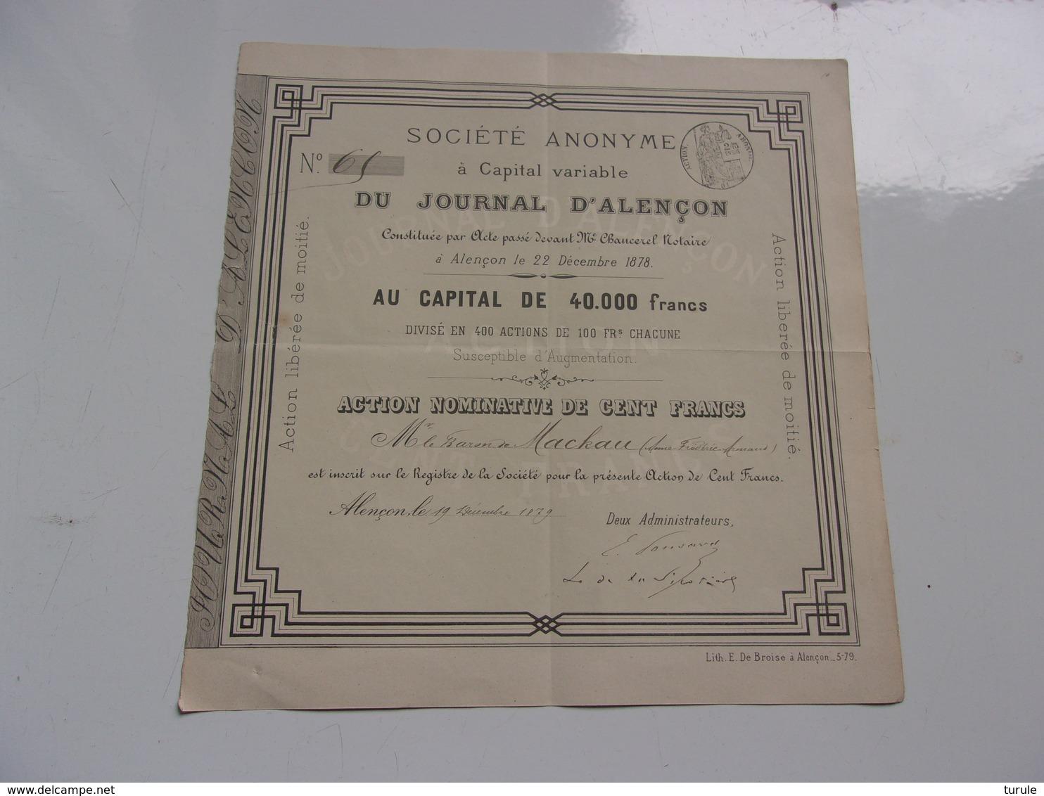 LE JOURNAL D'ALENCON Baron De Mackau (1879) - Aandelen