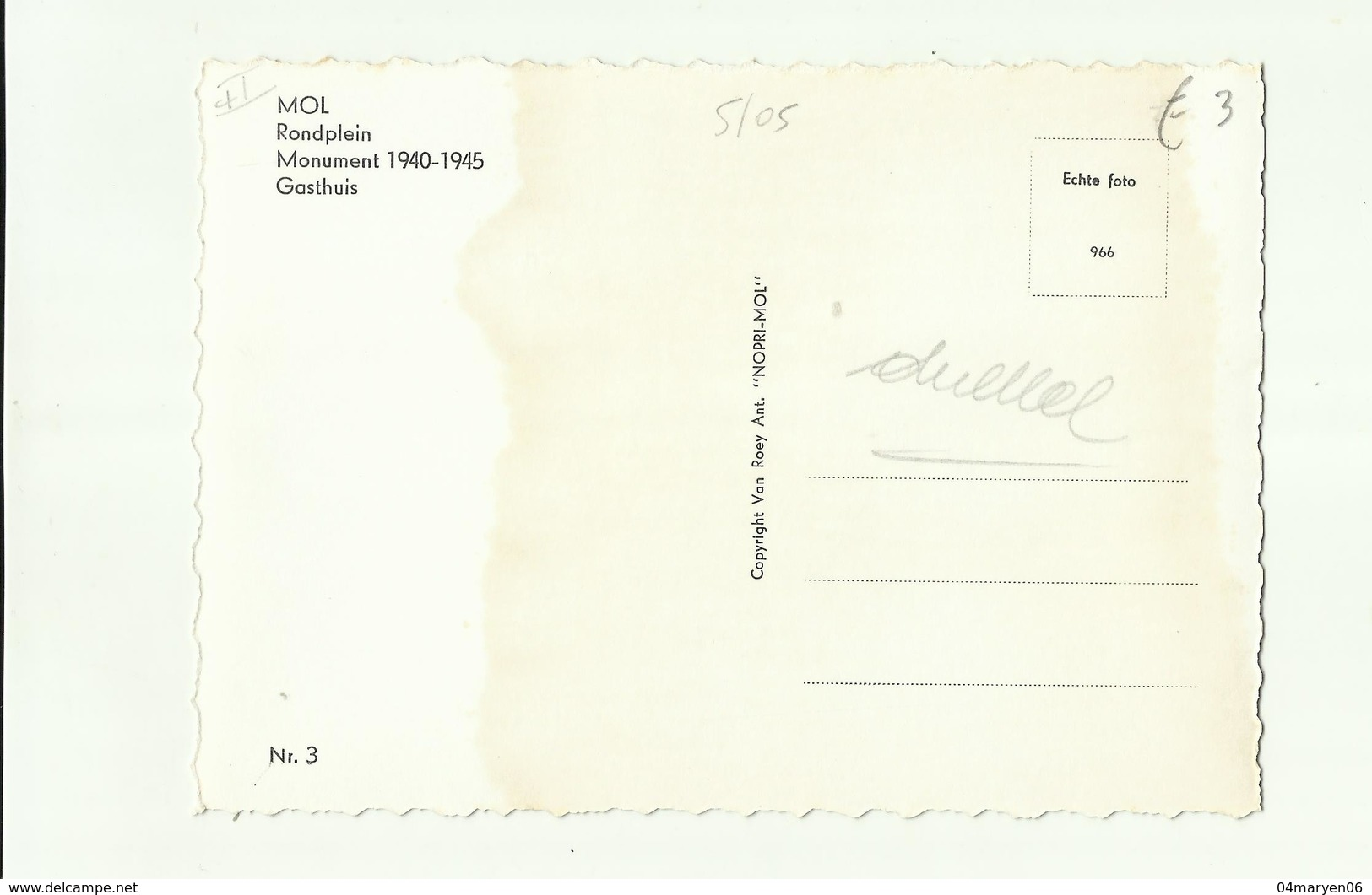 "--**  1  X  MOL   ** .""""Rondplein - Monument 1940-1945-Gasthuis   . """" - Mol"