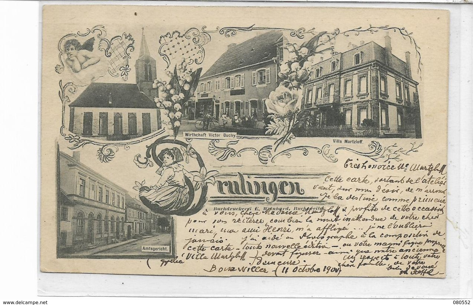 67 DRULINGEN . La Ville En 4 Clichés Dont L'églisz , Auberge Victor Buchy , édit :A Heinhardt , écrite  , état Extra - Drulingen