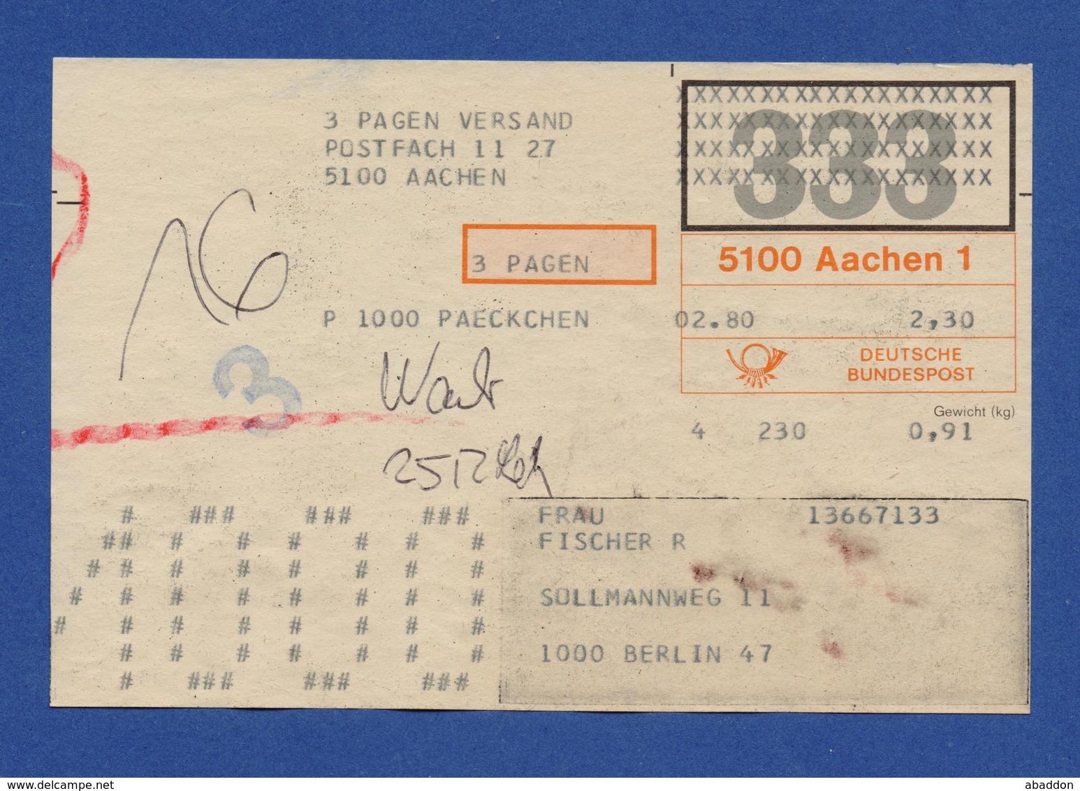 BRD Beleg Paeckchen - 3 Pagen Versand AACHEN > BERLIN 1980 - BRD