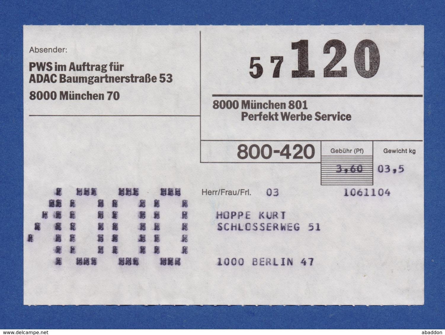 BRD Beleg - Perfekt Werbe Service I.A. Für ADAC MÜNCHEN - BRD