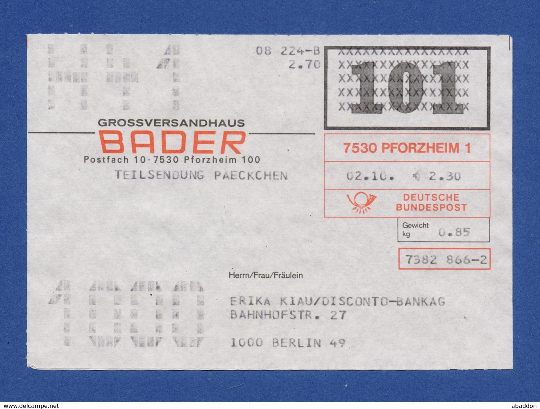 BRD Beleg Teilsendung Paeckchen - Großversandhaus BADER, PFORZHEIM - BRD