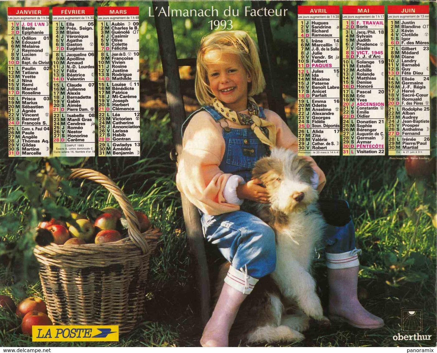 °° Calendrier Almanach La Poste 1993 Oberthur - Dépt 32 - Enfants Avec Chien Et Chat - Grand Format : 1991-00
