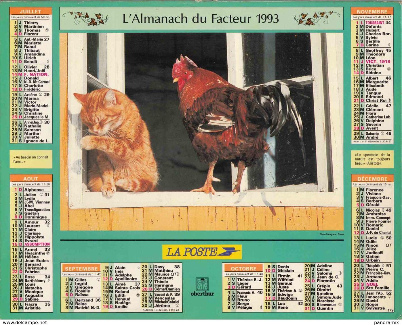 °° Calendrier Almanach La Poste 1993 Oberthur - Dépt 32 - Lapin Chat Et Coq - Calendriers