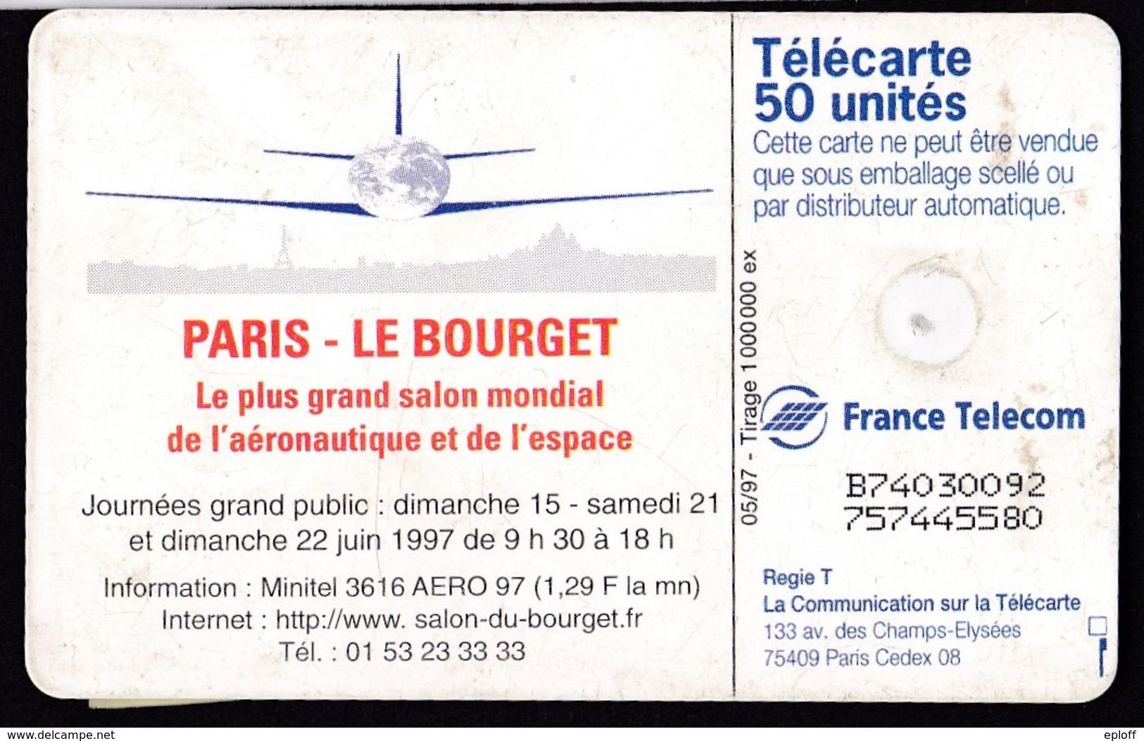 FRANCE Télécarte Gem De 05.97 De 50 Unités Salon Aéronautique Du Bourget    1k Ex. - Avions