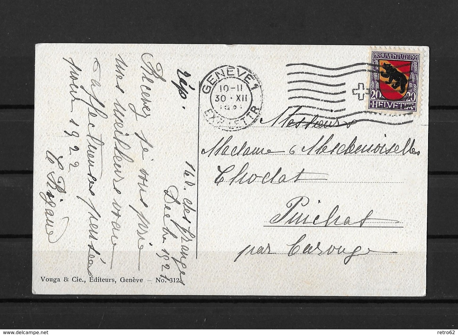 1921 PRO JUVENTUTE → Berner Wappen Auf Karte GenüVe 30.XII.1921 - Lettres & Documents