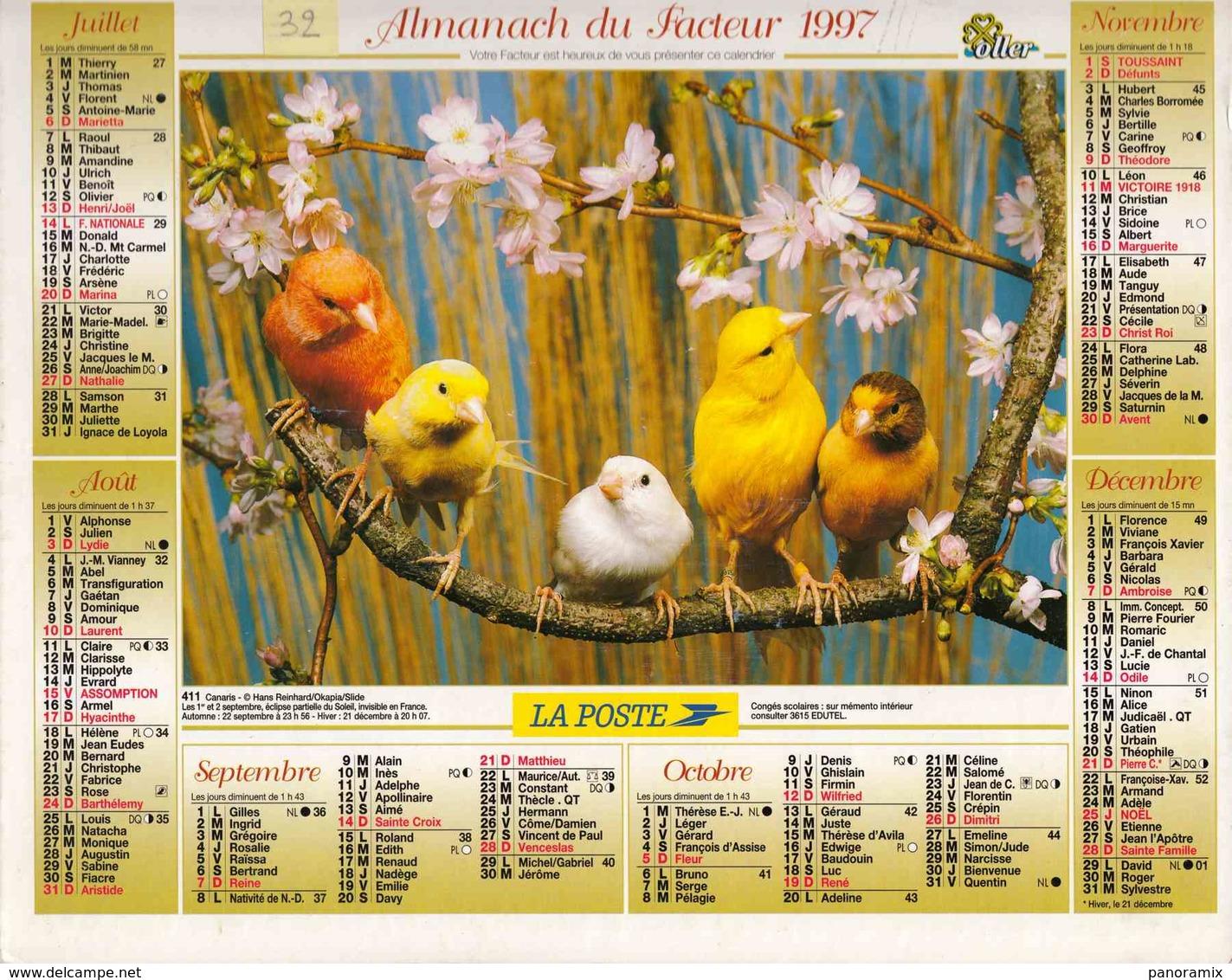 °° Calendrier Almanach La Poste 1997 Oller - Dépt 32 - Oiseaux Sur Branche Fleurie - Calendriers