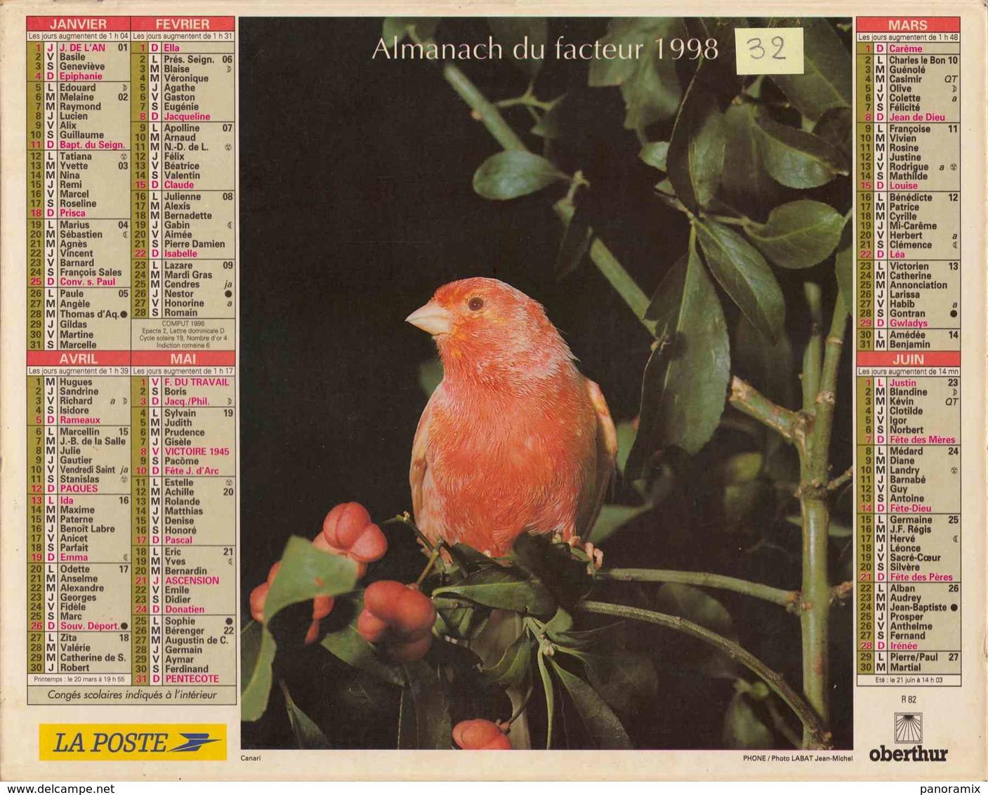 °° Calendrier Almanach La Poste 1998 Oberthur - Dépt 32 - Oiseaux - Grand Format : 1991-00