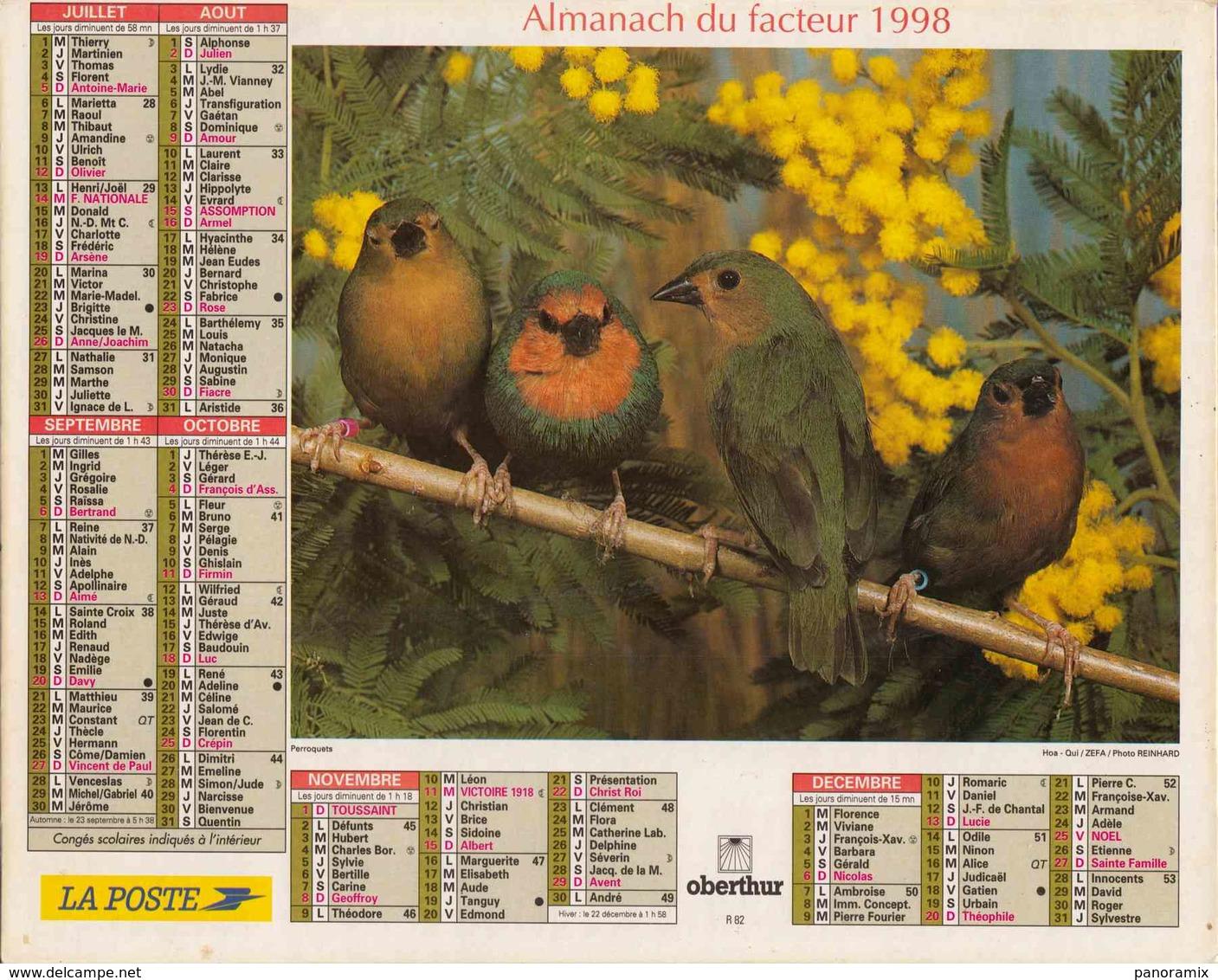 °° Calendrier Almanach La Poste 1998 Oberthur - Dépt 32 - Oiseaux - Calendriers