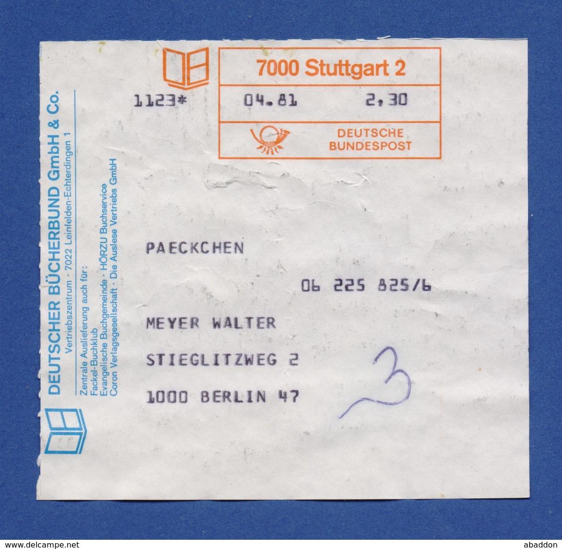 BRD Beleg Paeckchen - Deutscher Bücherbung GmbH & Co. LEINFELDEN-ECHTERDINGEN - STUTTGART - BRD