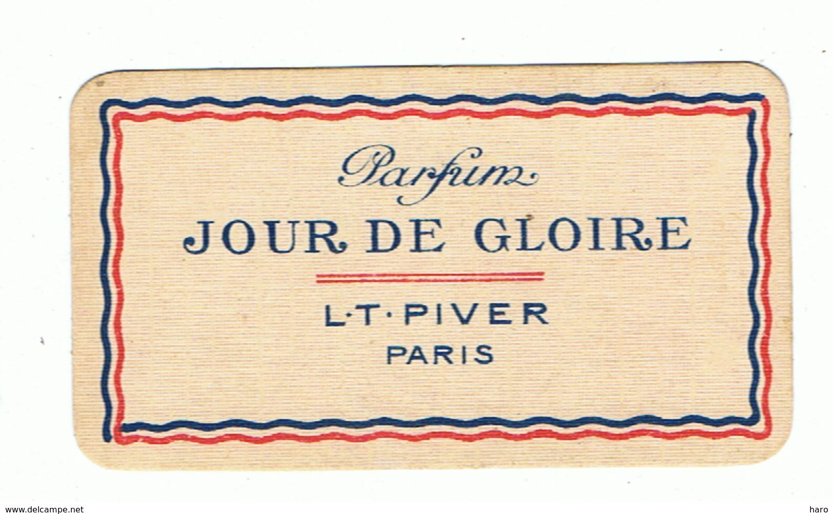 """Carte Parfumée - Parfum """" Jour De Gloire """" De L.T. PIVER Paris + Calendrier 1921/1922 (fr81) - Parfumkaarten"""