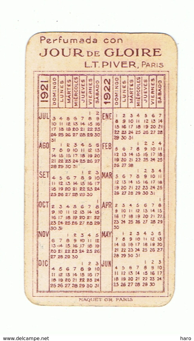 """Carte Parfumée - Parfum """" Jour De Gloire """" De L.T. PIVER Paris + Calendrier 1921/1922 (fr81) - Antiquariat (bis 1960)"""