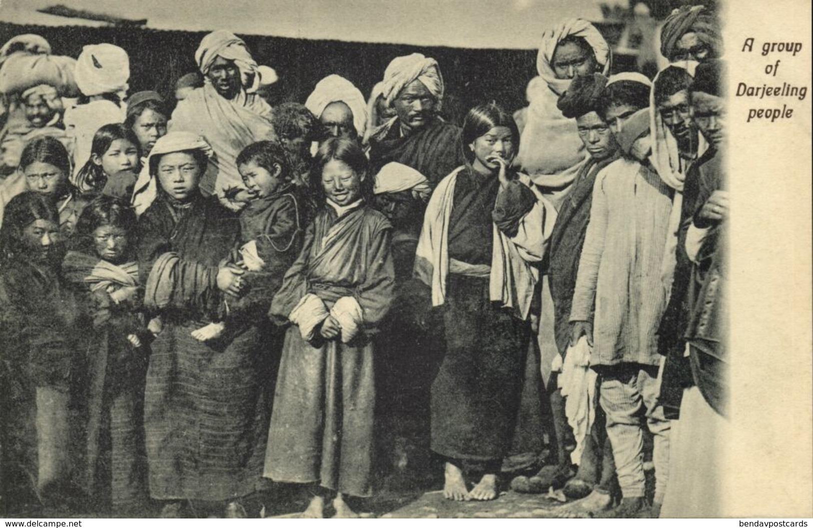 India, DARJEELING, Group Of Native People (1910s) Postcard - India