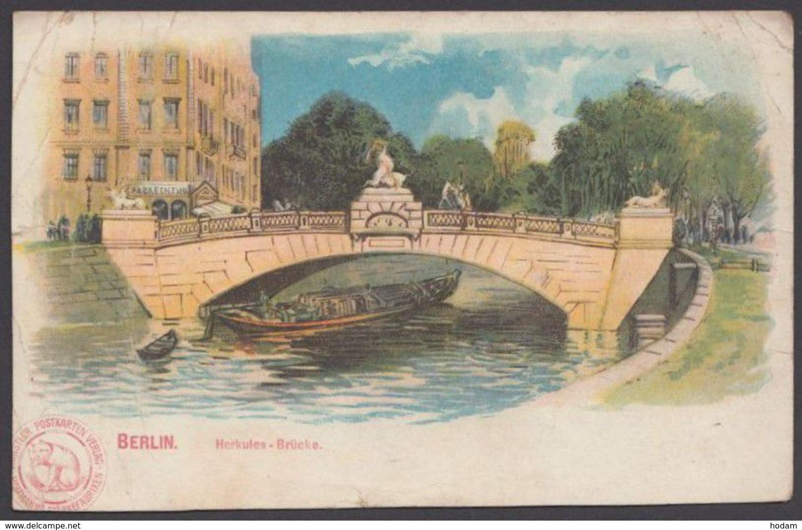 """""""Berlin"""", Herkules-Brücke, Farbig, Um 1900, Etwas Bügig - Mitte"""