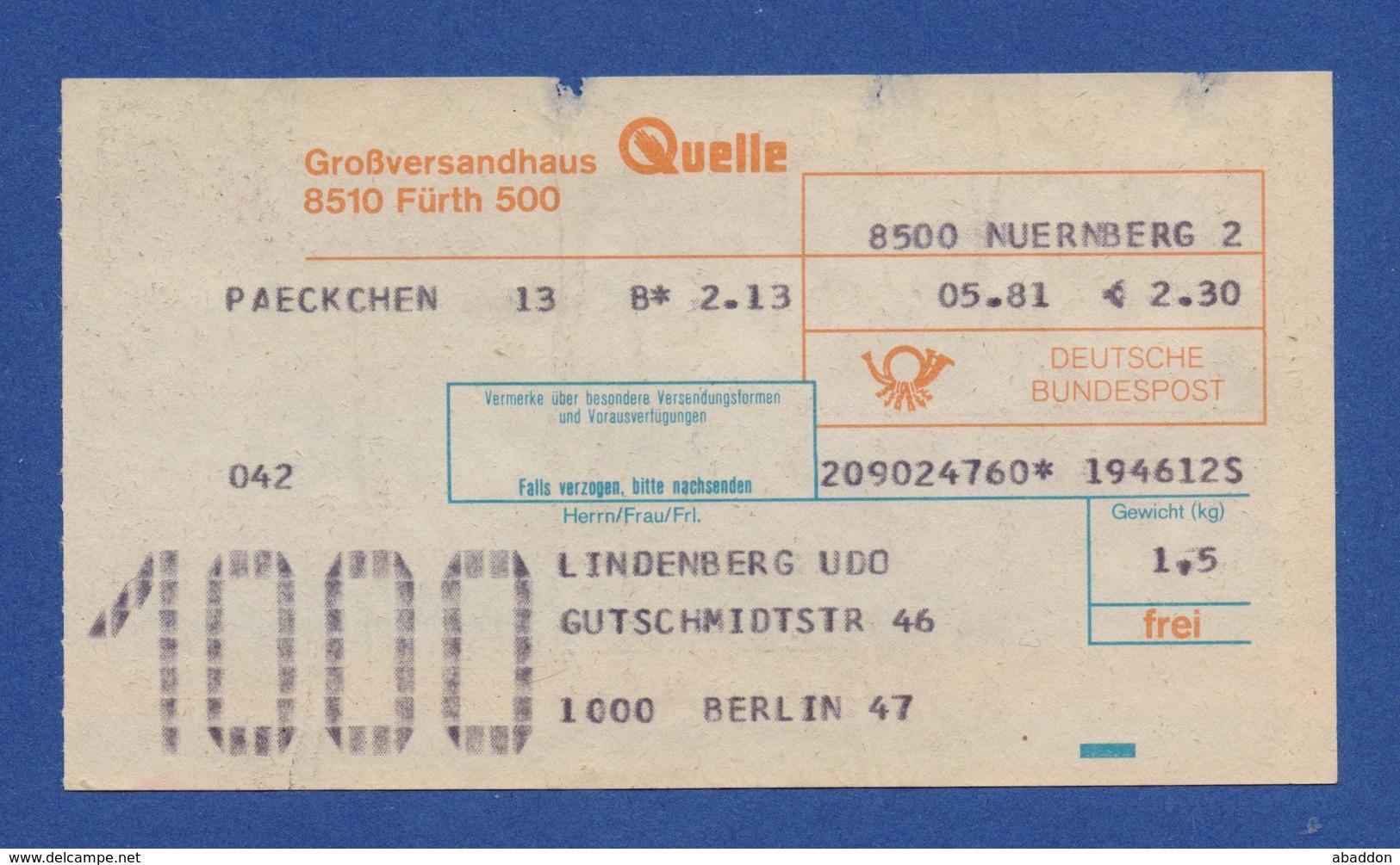 Beleg Päckchen Großversandhaus QUELLE FÜRTH NÜRNBERG > BERLIN 1981 - BRD