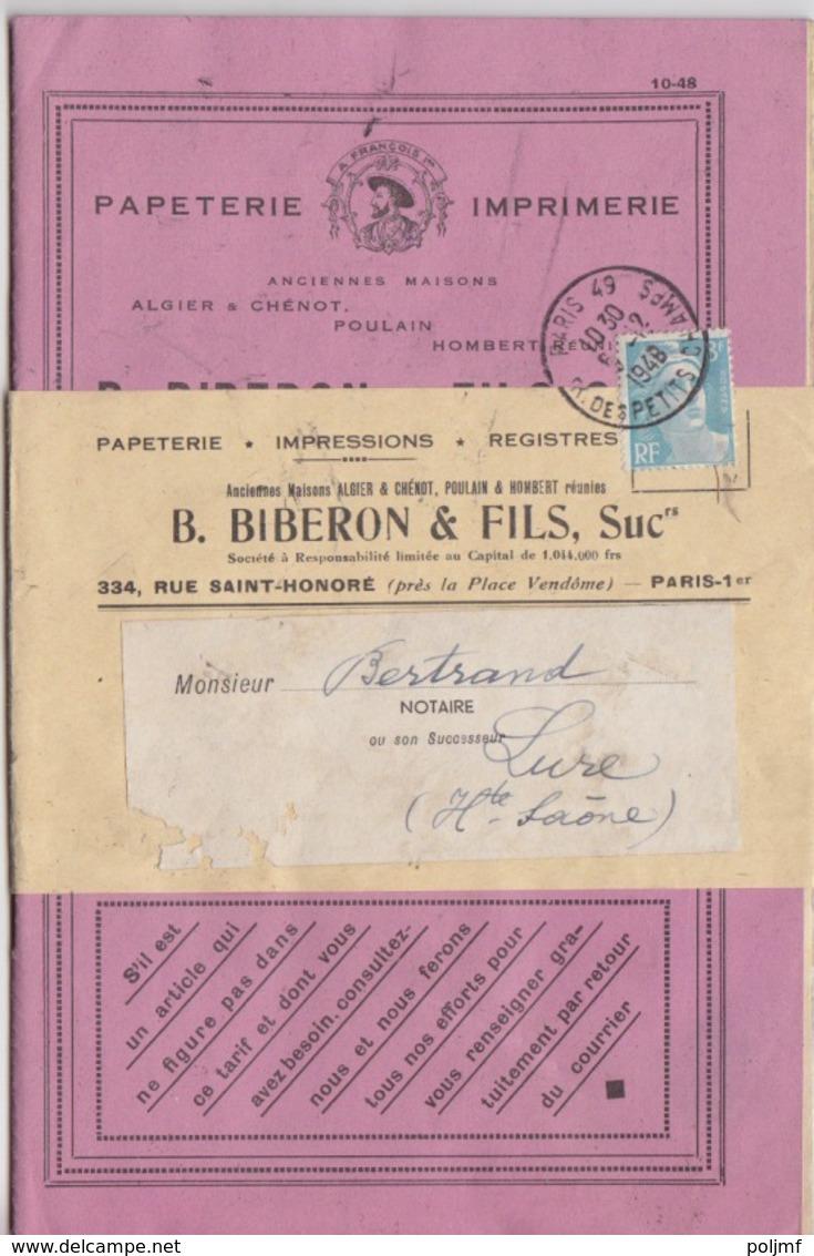 Exemple De Livret De La Papeterie Biberon Obl. Paris 49 R. Des Petits Champs Sur 8f Gandon Bleu Le 6/12/48 Pour Lure - Postmark Collection (Covers)