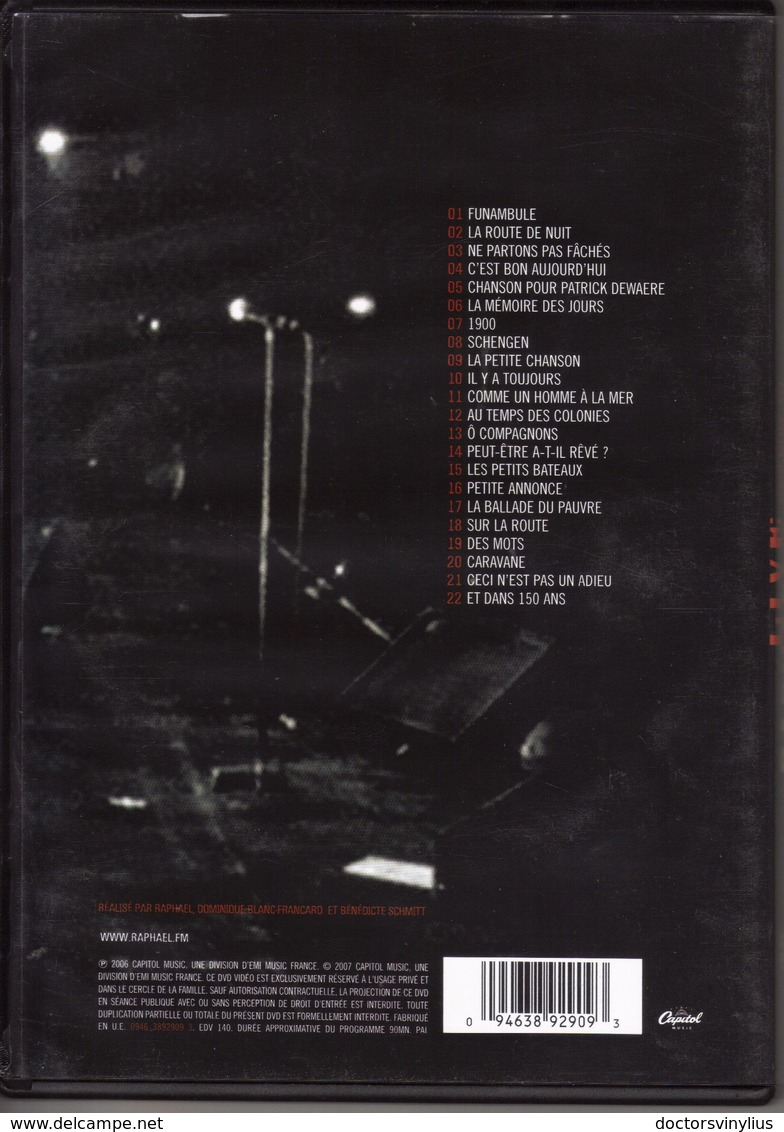 """RAPHAEL """"UNE NUIT AU ZENITH"""" LIVE - Musik-DVD's"""