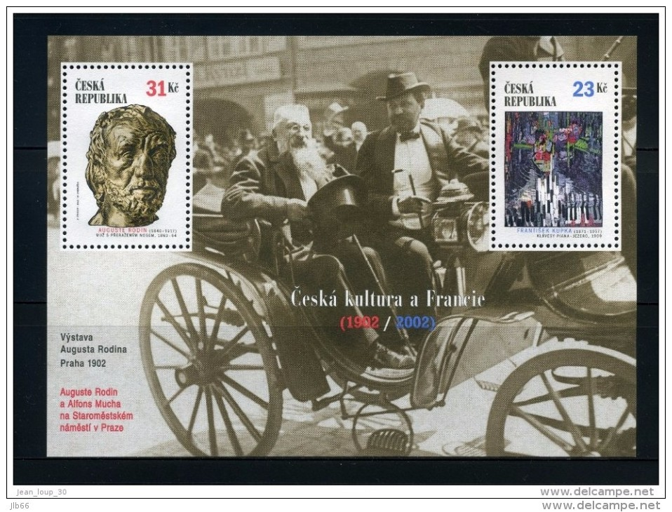 2002 BF 14 Culture Tchèque Et Française : Auguste Rodin , Frantisk Kupka  Et Alfons Mucha - Blocks & Sheetlets