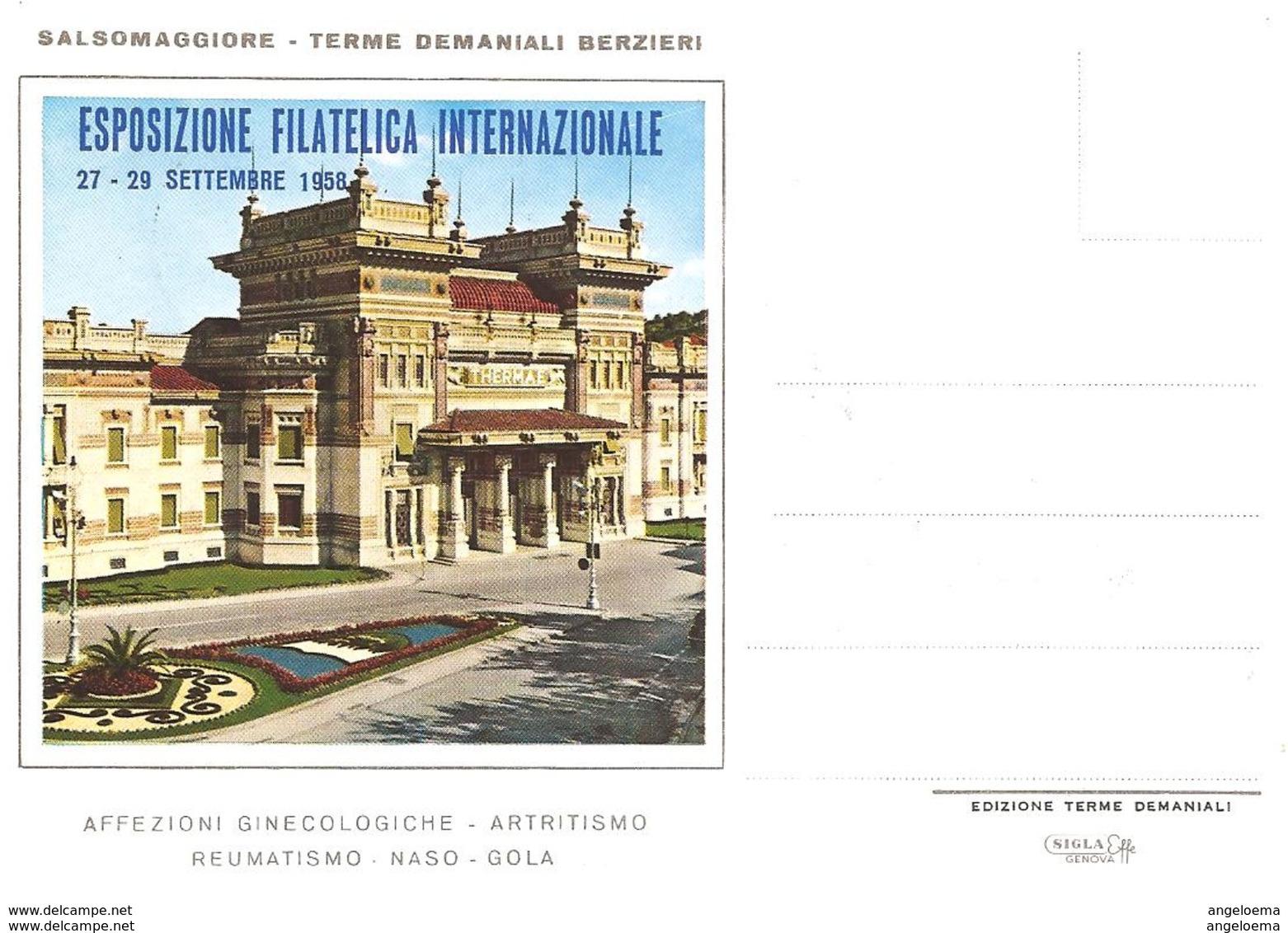 ITALIA - 1958 SALSOMAGGIORE T. (PR) 3^ Esposizione Fil. + Timbro Che Raffigura Le Terme Su Cartolina Speciale - 1733 - Termalismo