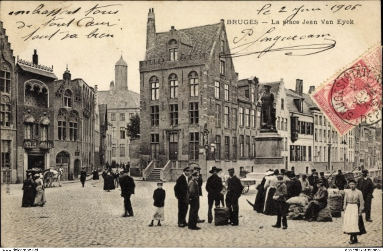 Cp Bruges Brügge Flandern Westflandern, La Place Jean Van Eyck, Denkmal - Belgique