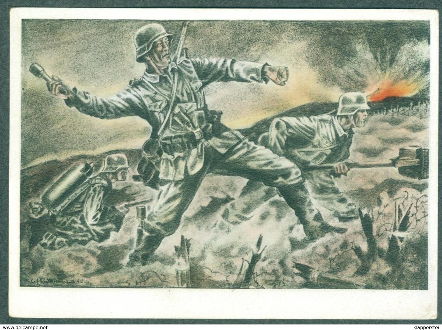 WW2 Wehrmachts Postkarten Sturmpioniere Vor Dem Festungswerk  Armée Allemande Militaria - War 1939-45