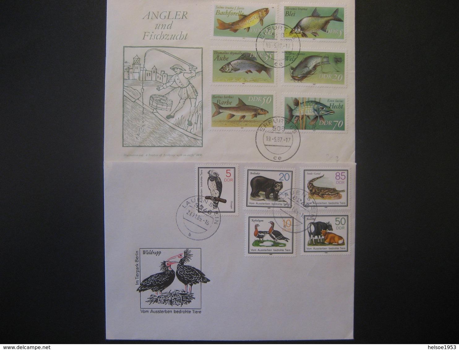 """Deutschland/ DDR- FDC Beleg """"Süsswasserfische"""" ANK 3095-3100, Beleg Naturschutz ANK 2952-2956 - Lettres & Documents"""