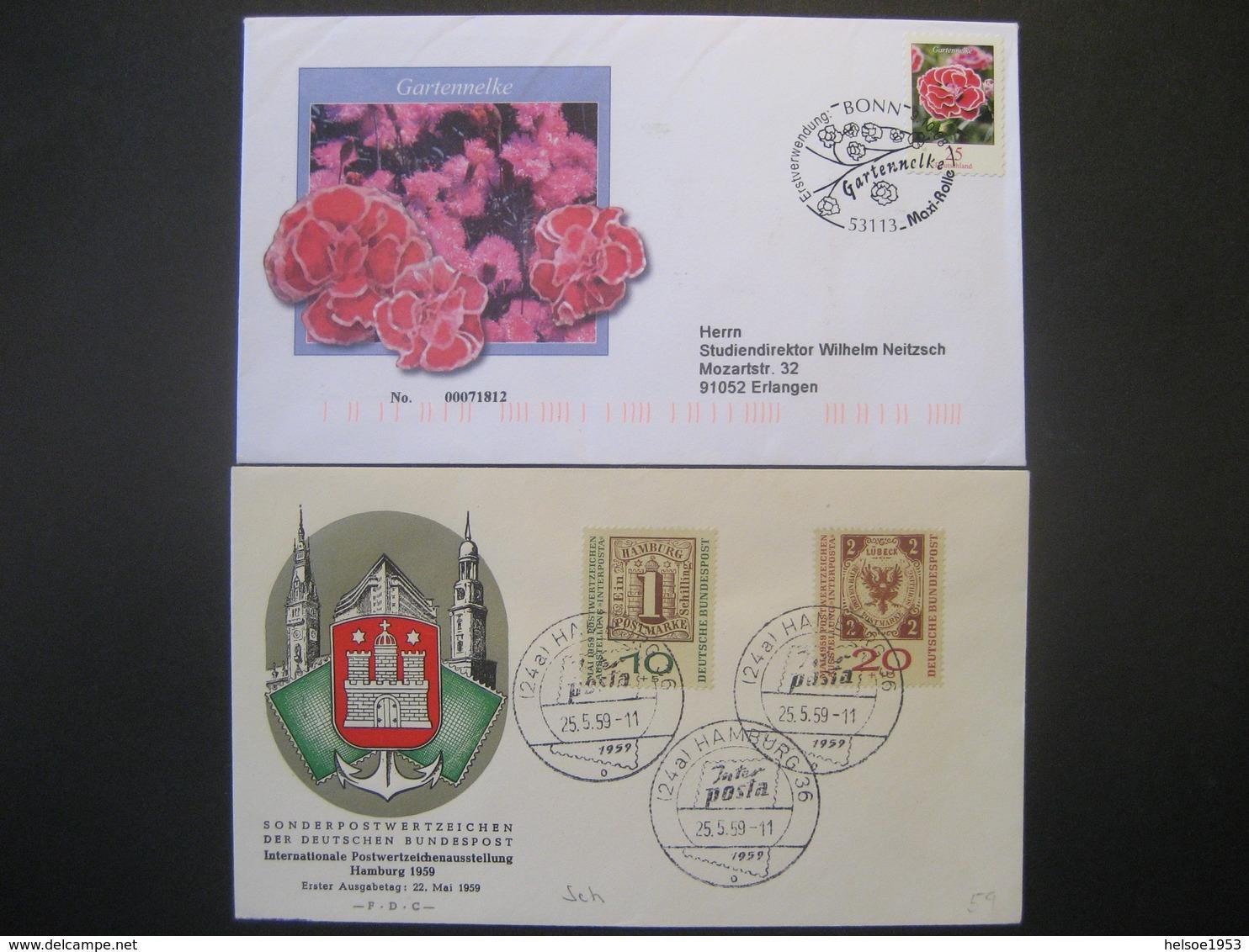 """Deutschland/ DDR- FDC Beleg """"Gartennelke"""" ANK 2721, Beleg Interposta Hamburg 1959 ANK 310-311 - [7] République Fédérale"""