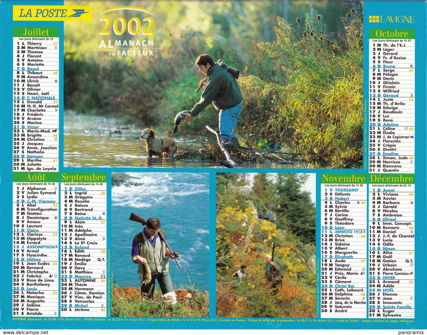 °° Calendrier Almanach La Poste 2002 Lavigne - Dépt 32 - Scènes De Pêche Et De Chasse - Kalenders