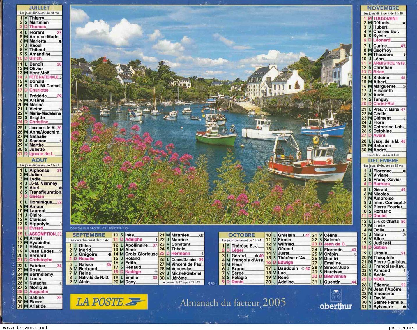 °° Calendrier Almanach La Poste 2005 Oberthur - Dépt 32 - Doëlan Finistère - Kalenders